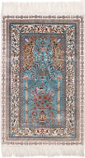 4x3 blue silk hereke rug