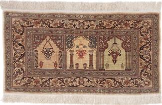 3ft by 2ft silk hereke turkish rug