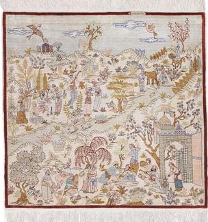 3ft square ozipek hereke silk carpet