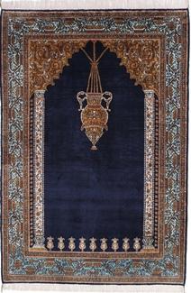 semi antique silk qum persian carpet