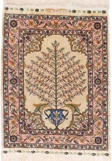square hereke silk turkish rug