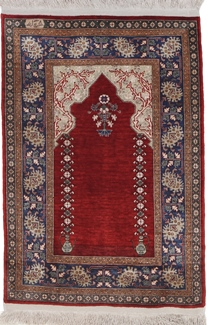 red silk hereke turkish rug