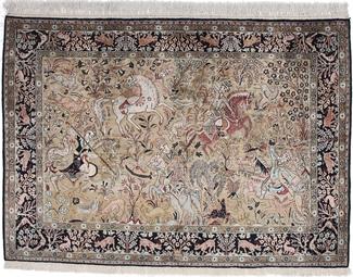 antique old silk qum pictorial carpet