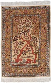 turkish hereke pictorial tree of life silk carpet