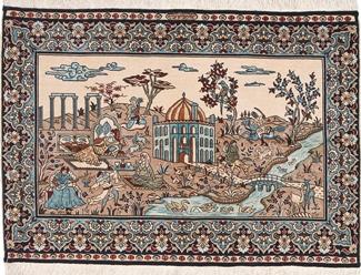 silk cinar istanbul pictorial turkish carpet