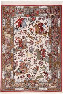 pictorial hunting silk qum persian rug