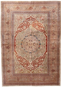 haj jalili antique silk tabriz rug