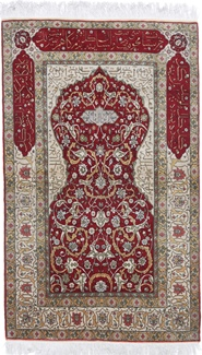 6x4 silk hereke turkish rug