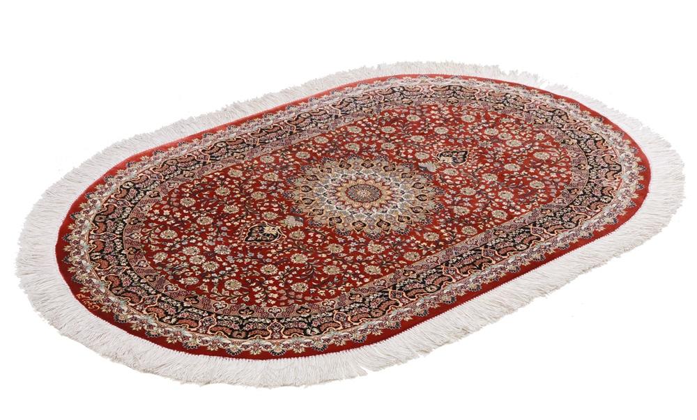 oval silk Qom rug qum carpet