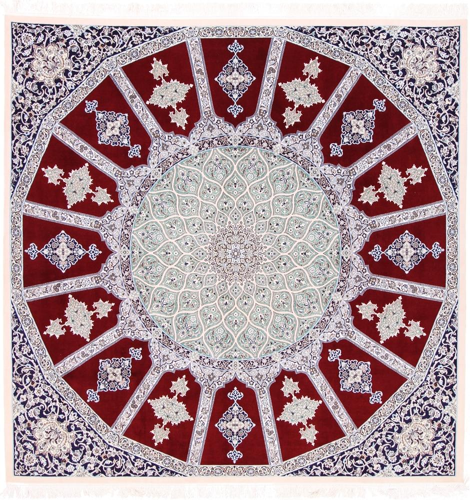 8x8 square gonbad nain persian rug