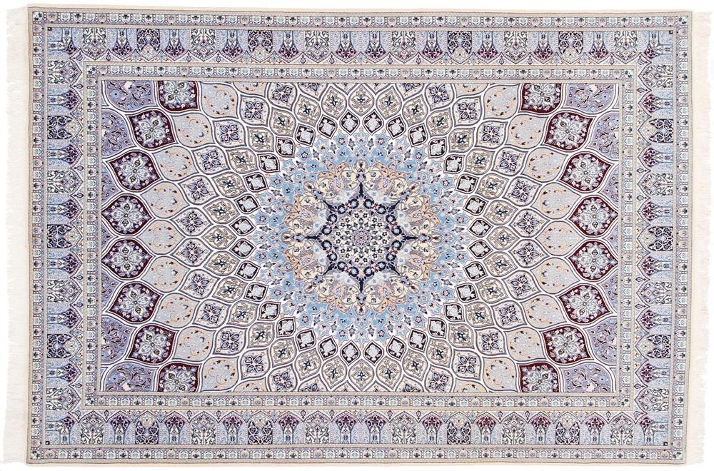 9x6 gonbad silk nain persian rug