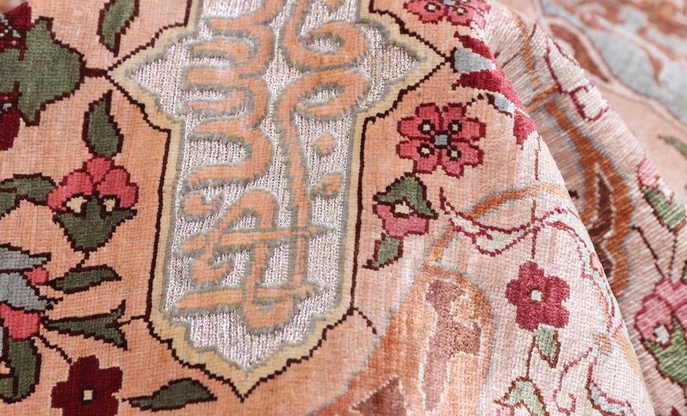 Metal silk hereke turkish rug