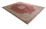 10x8 beige red silk kashmir persian rug