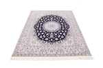 8x6 blue silk nain persian rug