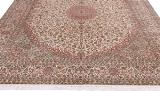 10x8 brown beige silk kashmir persian rug