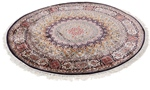 5foot round silk gonbad kashmir carpet
