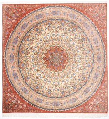 Handmade Persian rugs from Qum, Tabriz and Nain. Square pure Silk Qum gombad Persian carpet.