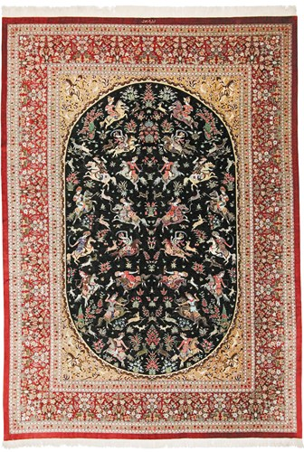 Many Qom silk Persian rugs. Pure Silk Qum Persian carpets with silk