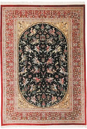 pictorial Persian Carpet from mprugs.com, Qom hunting persian carpet