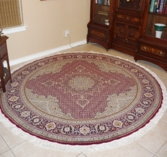 Round Persian rug client in Texas USA