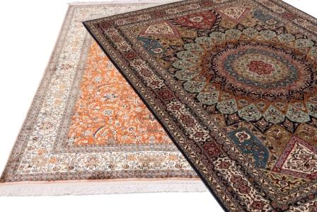 Kashmir Silk Persian rugs with 100% silk pile custom made for us in 18/18 and Single Knot qualities.