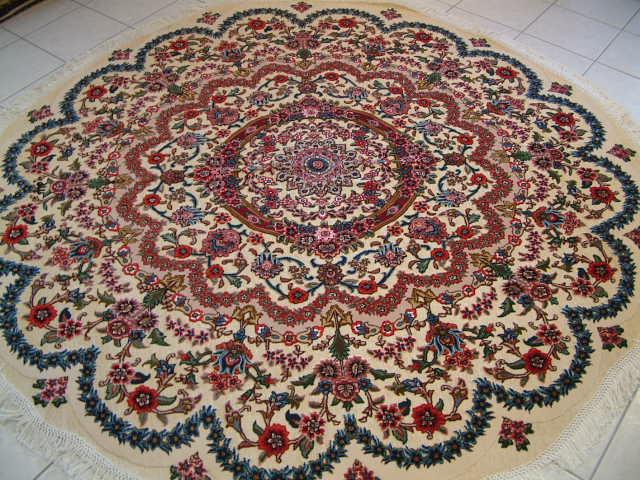 round metal Tabriz Persian rug; round Persian carpet with a metal foundation. metal persian rug