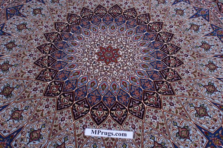 Round Gonbad Tabriz Persian Rug; 6u0027 2m Round Tabriz Persian Rugs Genuine  Handmade.