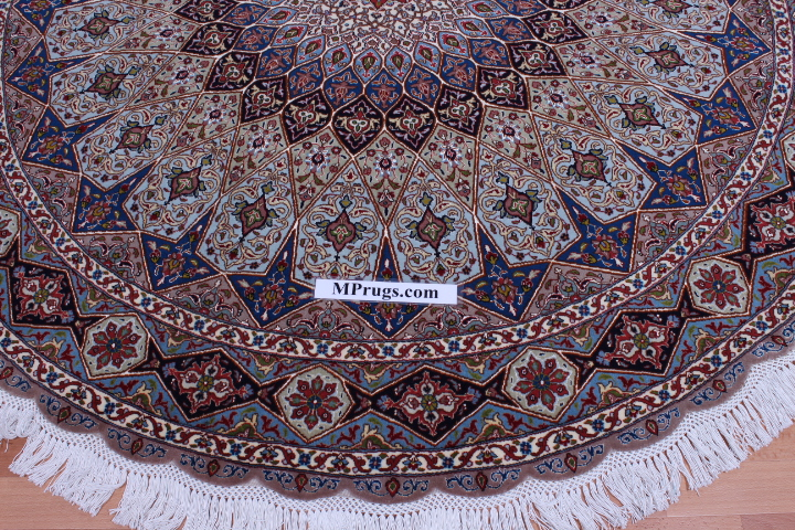 Round Gonbad Tabriz Persian rug; 6' 2m round tabriz Persian Rugs genuine handmade. high quality round Persian rug with Gombad design.