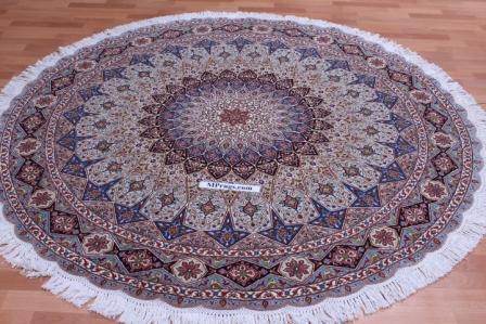 Round Gonbad Tabriz Persian rug; 6' 2m round tabriz Persian Rugs genuine handmade. high quality round Persian rug with Gombad design.