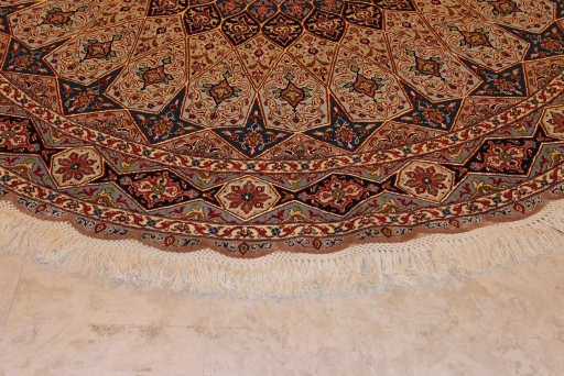 Round Gonbad Tabriz Persian Rug; 6u0027 1m Round Tabriz Persian Rugs Genuine  Handmade.