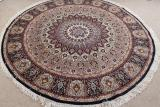 Round Gonbad silk foundation Tabriz Persian rug; 6' 2m round tabriz Persian Rugs genuine handmade. High quality round Persian rug with Gombad design.