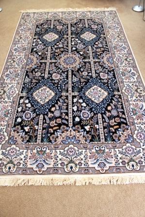 8x5 Blue Nain 6Lah Persian rug Chappaqua. Very fine Nain Persian carpet with lots of silk highlights.