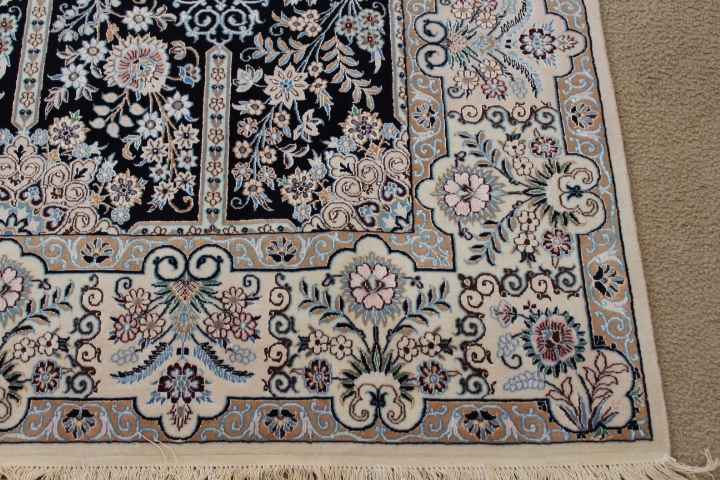8x5 Blue Nain 6Lah Persian rug. Very fine Nain Persian carpet with lots of silk highlights.