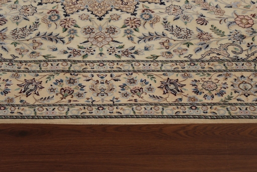 7x4 Beige Nain 6Lah Persian rug. Very fine Nain Persian carpet with lots of silk highlights.