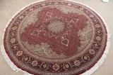 Round 6' Tabriz Persian rug; Pirouzian Mahi Tabriz Persian carpet runner. Signed long Mahi Tabriz Persian carpet.
