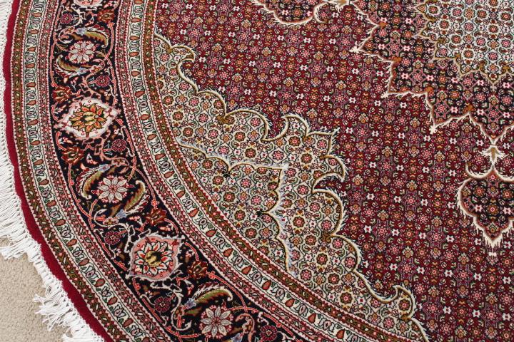 Round 6' Tabriz Persian rug; Pirouzian Mahi Tabriz Persian carpet runner. Signed long Mahi Tabriz Persian carpet.