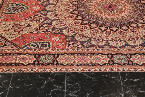 7x5 Gonbad Tabriz Persian rug. Dome Design Gombad 50Raj silk Tabriz Persian carpet.