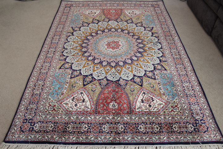 7x5 Gonbad Indian Tabriz Persian Rug Medium Size Silk Rugs Genuine Handmade Gombad