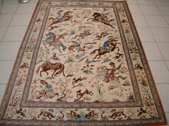 Qom PURE SILK Persian rug #1155, click on the picture or description for more details about the Persian carpets.