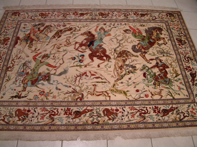 Qom PURE SILK Persian rug #1178, click on the picture or description for more details about the Persian carpets.
