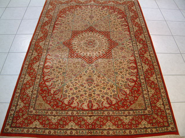 Qom Persian rug #1194, click on the picture or description for more details about the Persian carpets.