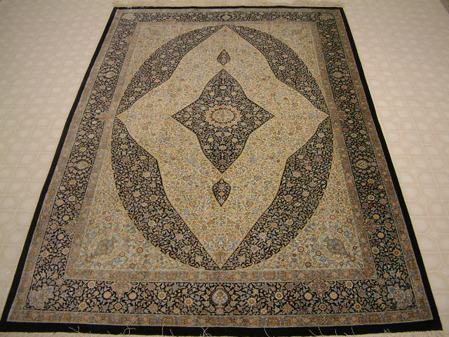 Qom PURE SILK Persian rug #1221, click on the picture or description for more details about the Persian carpets.