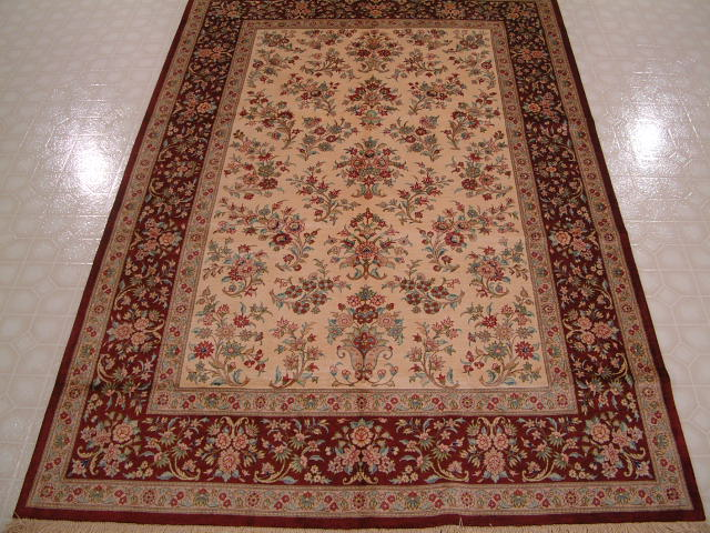 Qom PURE SILK Persian rug #1235, click on the picture or description for more details about the Persian carpets.