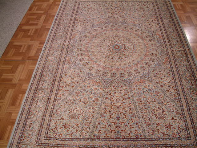 Qom PURE SILK Persian rug #1243, click on the picture or description for more details about the Persian carpets.