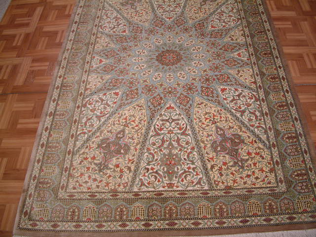 Qom PURE SILK Persian rug #1244, click on the picture or description for more details about the Persian carpets.