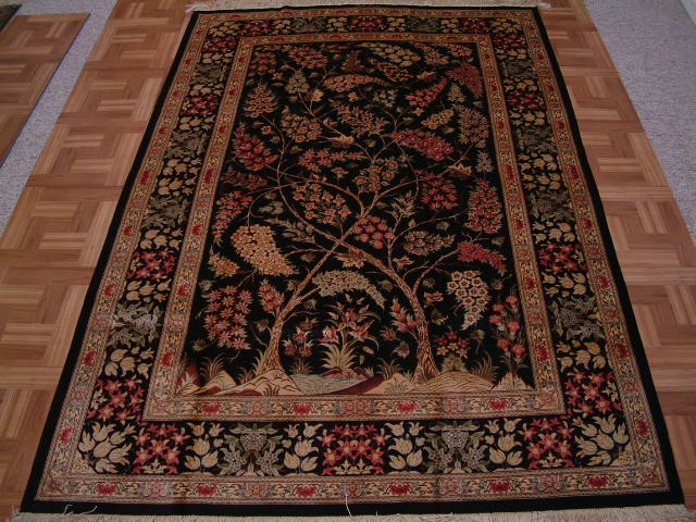 Qom PURE SILK Persian rug #1267, click on the picture or description for more details about the Persian carpets.