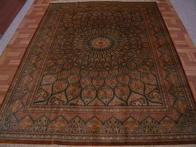 Qom PURE SILK Persian rug #1268, click on the picture or description for more details about the Persian carpets.
