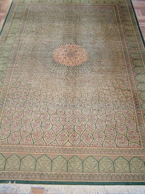Qom PURE SILK Persian rug #1273, click on the picture or description for more details about the Persian carpets.