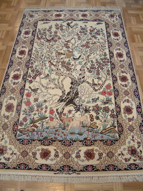 Tree of Life Isfahan Persian rug; All Tree of Life Persian Rugs are genuine handmade. Also, every Persian Isfahan rug I offer is made with fine kurkwool/silk.