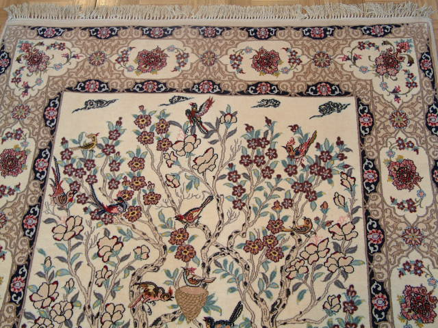 Tree of LifeIsfahan Persian rug; All Tree of LifePersian Rugs are genuine handmade. Also, every Persian Isfahan rug I offer is made with fine kurkwool/silk.